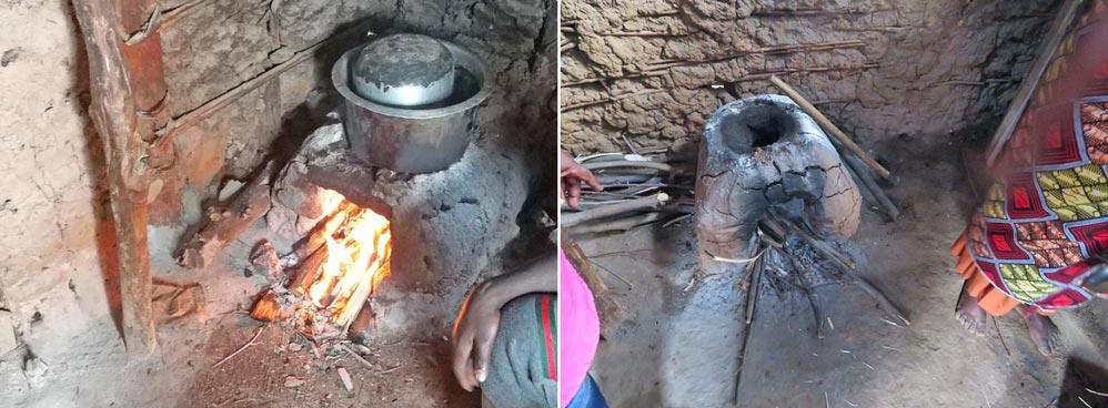 Traditionelle Kochstellen; Ruwenzori-Gebirge, Uganda