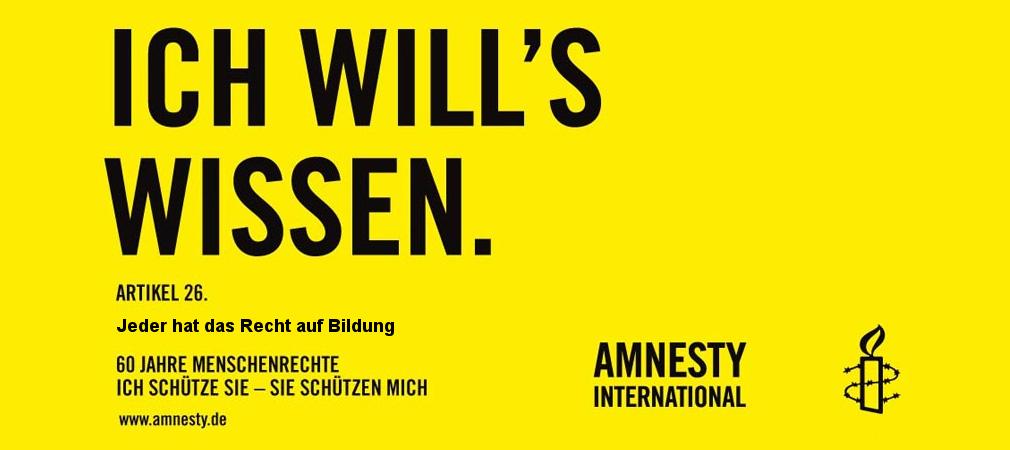 Recht auf Bildung Banner von Amnesty International
