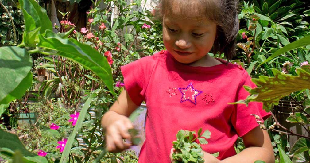 Carmelinas Tochter im Bio-Garten